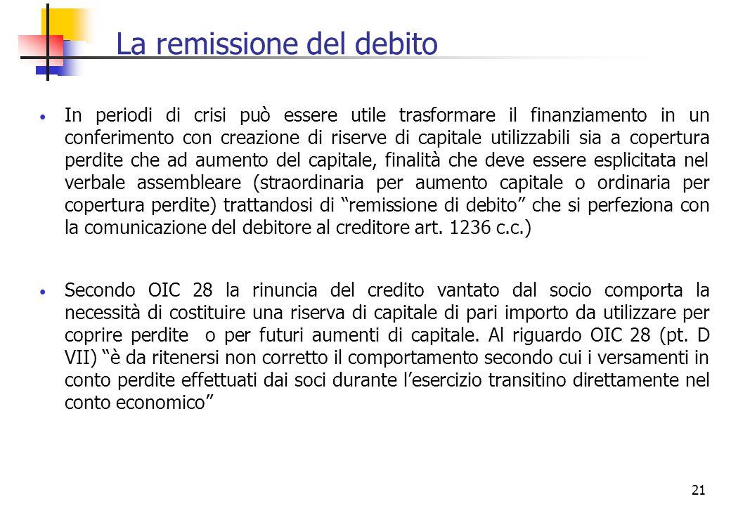 21 La remissione del debito In periodi di crisi può essere utile trasformare il finanziamento in un conferimento con creazione di riserve di capitale