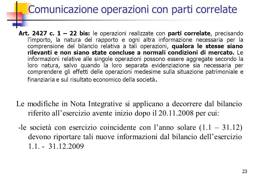 23 Comunicazione operazioni con parti correlate Art. 2427 c. 1 – 22 bis: le operazioni realizzate con parti correlate, precisando limporto, la natura