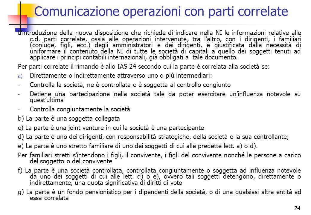 24 Lintroduzione della nuova disposizione che richiede di indicare nella NI le informazioni relative alle c.d. parti correlate, ossia alle operazioni