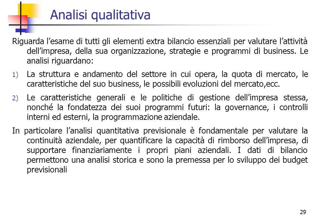 29 Analisi qualitativa Riguarda lesame di tutti gli elementi extra bilancio essenziali per valutare lattività dellimpresa, della sua organizzazione, s