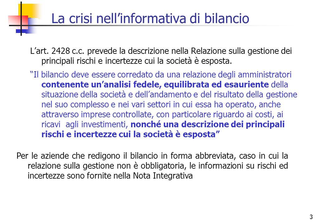 14 Crediti La crisi impone unattenta valutazione dei crediti che consideri il 2426 c.c.