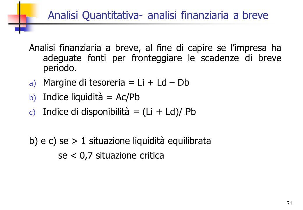 31 Analisi Quantitativa- analisi finanziaria a breve Analisi finanziaria a breve, al fine di capire se limpresa ha adeguate fonti per fronteggiare le