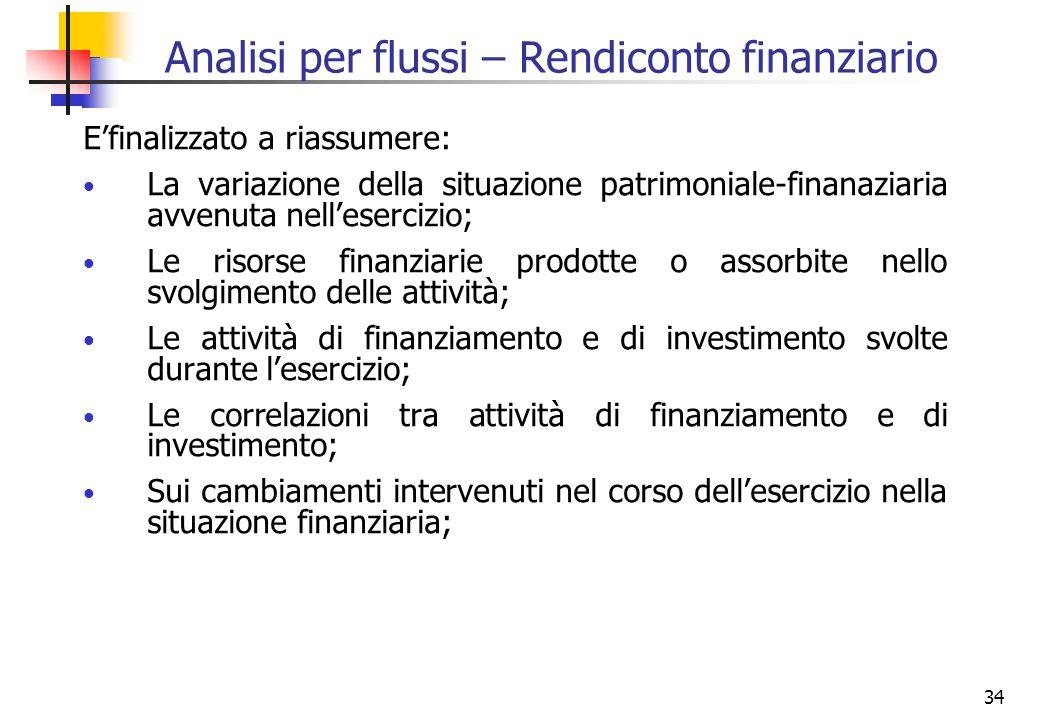 34 Analisi per flussi – Rendiconto finanziario Efinalizzato a riassumere: La variazione della situazione patrimoniale-finanaziaria avvenuta nelleserci
