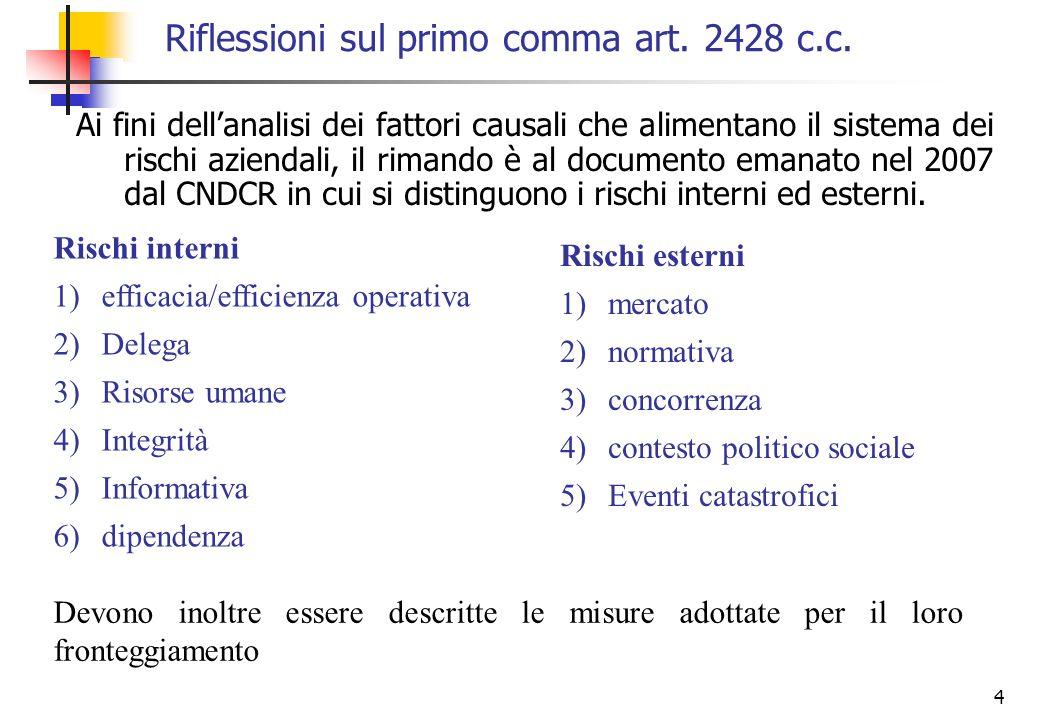 4 Riflessioni sul primo comma art. 2428 c.c. Ai fini dellanalisi dei fattori causali che alimentano il sistema dei rischi aziendali, il rimando è al d