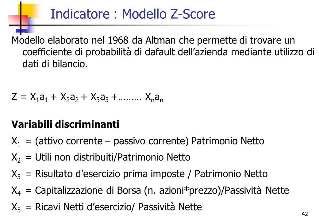 42 Indicatore : Modello Z-Score Modello elaborato nel 1968 da Altman che permette di trovare un coefficiente di probabilità di dafault dellazienda med