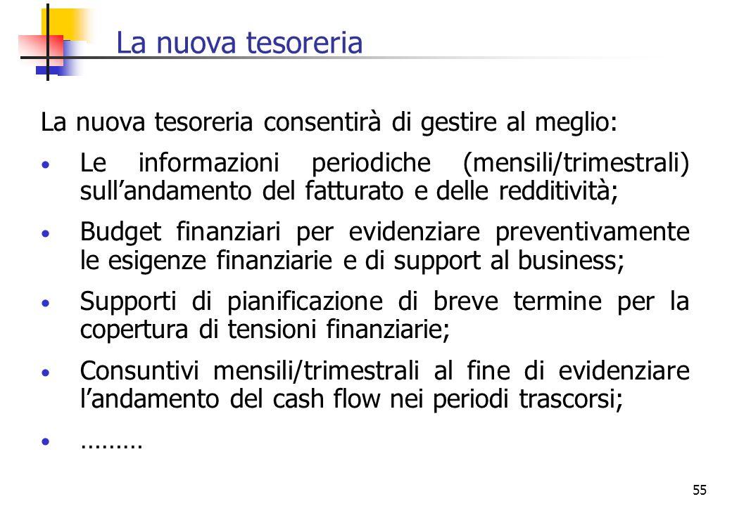 55 La nuova tesoreria La nuova tesoreria consentirà di gestire al meglio: Le informazioni periodiche (mensili/trimestrali) sullandamento del fatturato