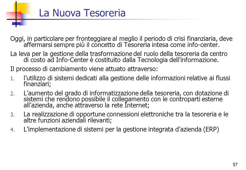 57 La Nuova Tesoreria Oggi, in particolare per fronteggiare al meglio il periodo di crisi finanziaria, deve affermarsi sempre più il concetto di Tesor