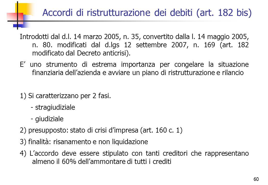 60 Accordi di ristrutturazione dei debiti (art. 182 bis) Introdotti dal d.l. 14 marzo 2005, n. 35, convertito dalla l. 14 maggio 2005, n. 80. modifica