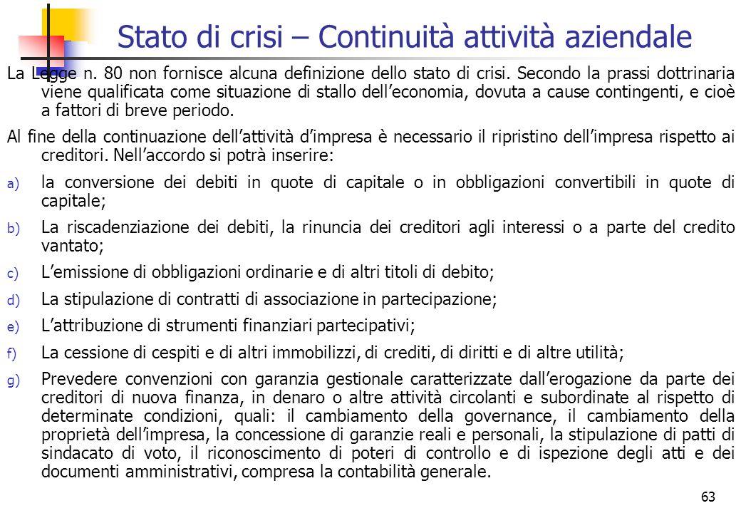 63 Stato di crisi – Continuità attività aziendale La Legge n. 80 non fornisce alcuna definizione dello stato di crisi. Secondo la prassi dottrinaria v