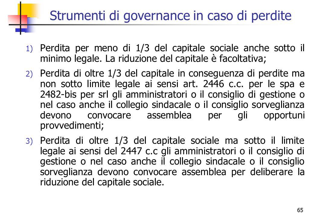 65 Strumenti di governance in caso di perdite 1) Perdita per meno di 1/3 del capitale sociale anche sotto il minimo legale. La riduzione del capitale