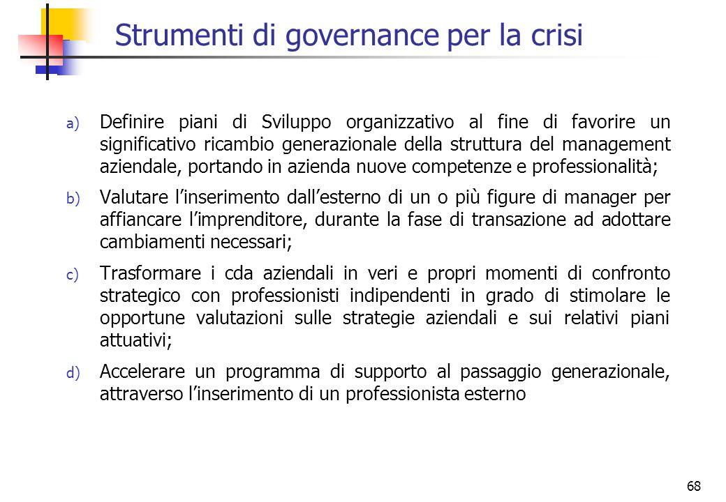 68 Strumenti di governance per la crisi a) Definire piani di Sviluppo organizzativo al fine di favorire un significativo ricambio generazionale della