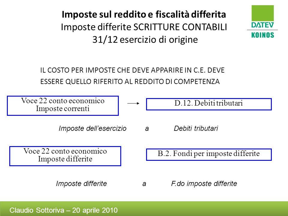 Imposte sul reddito e fiscalità differita Imposte differite SCRITTURE CONTABILI 31/12 esercizio di origine IL COSTO PER IMPOSTE CHE DEVE APPARIRE IN C