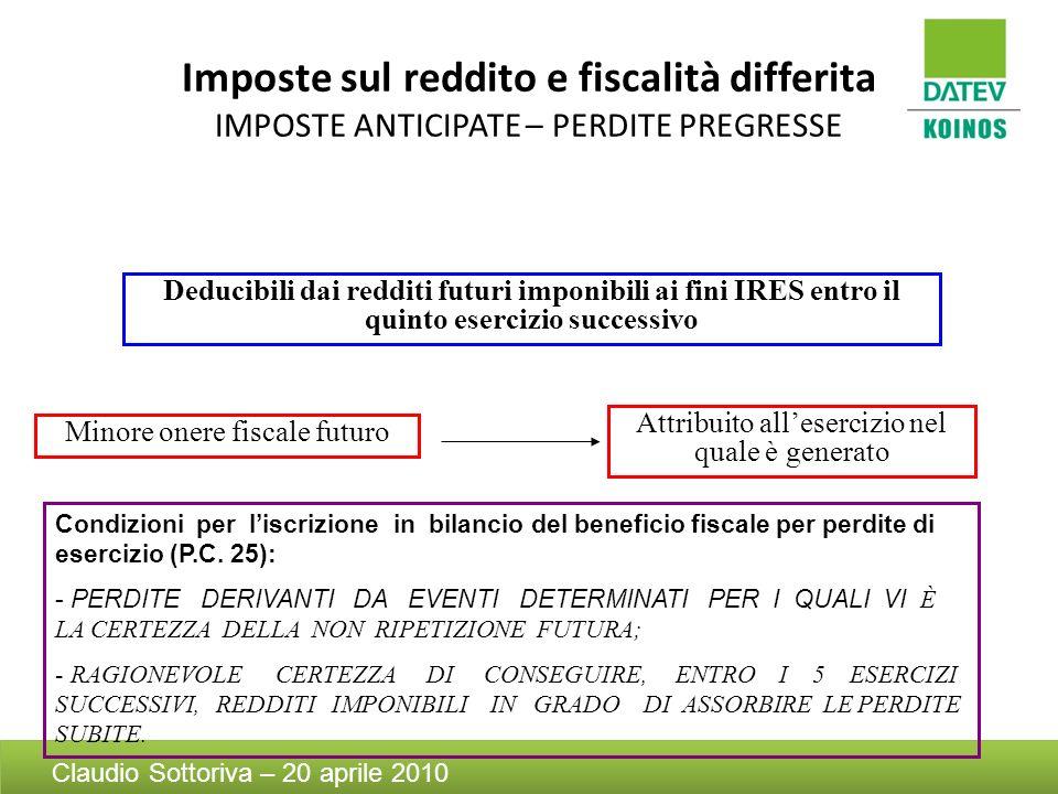 Imposte sul reddito e fiscalità differita IMPOSTE ANTICIPATE – PERDITE PREGRESSE Deducibili dai redditi futuri imponibili ai fini IRES entro il quinto