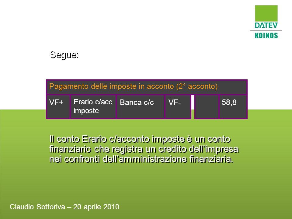 Segue: Pagamento delle imposte in acconto (2° acconto) Banca c/c58,8VF-VF+ Erario c/acc. imposte Il conto Erario c/acconto imposte è un conto finanzia