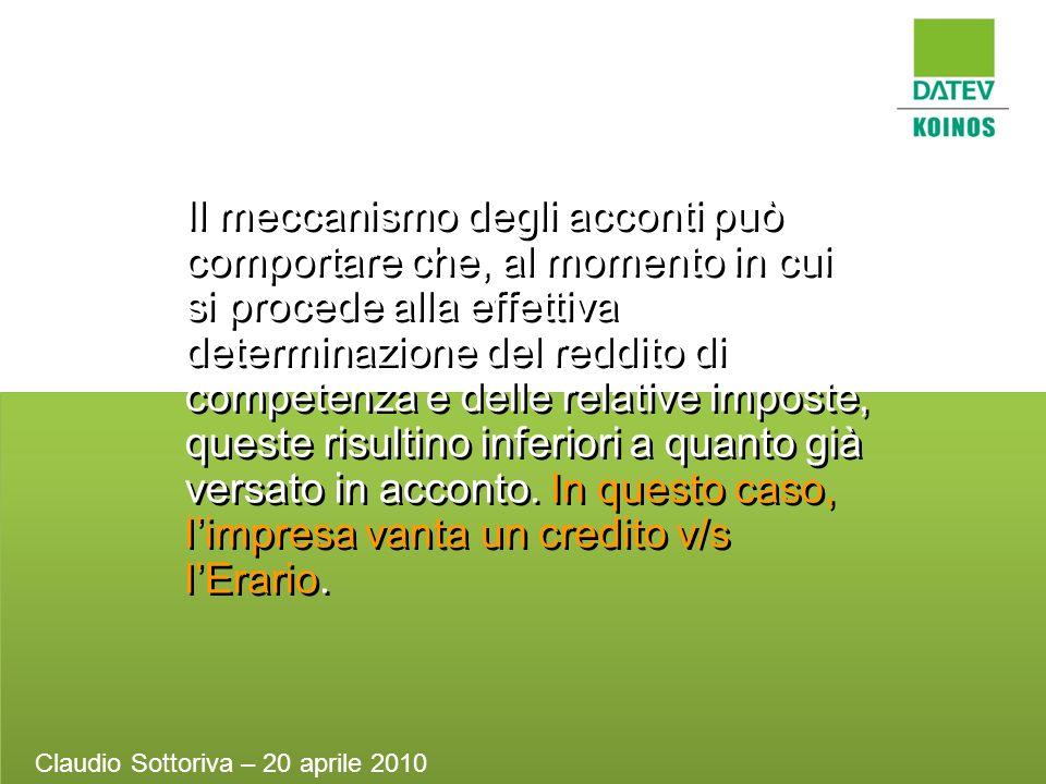 Il meccanismo degli acconti può comportare che, al momento in cui si procede alla effettiva determinazione del reddito di competenza e delle relative