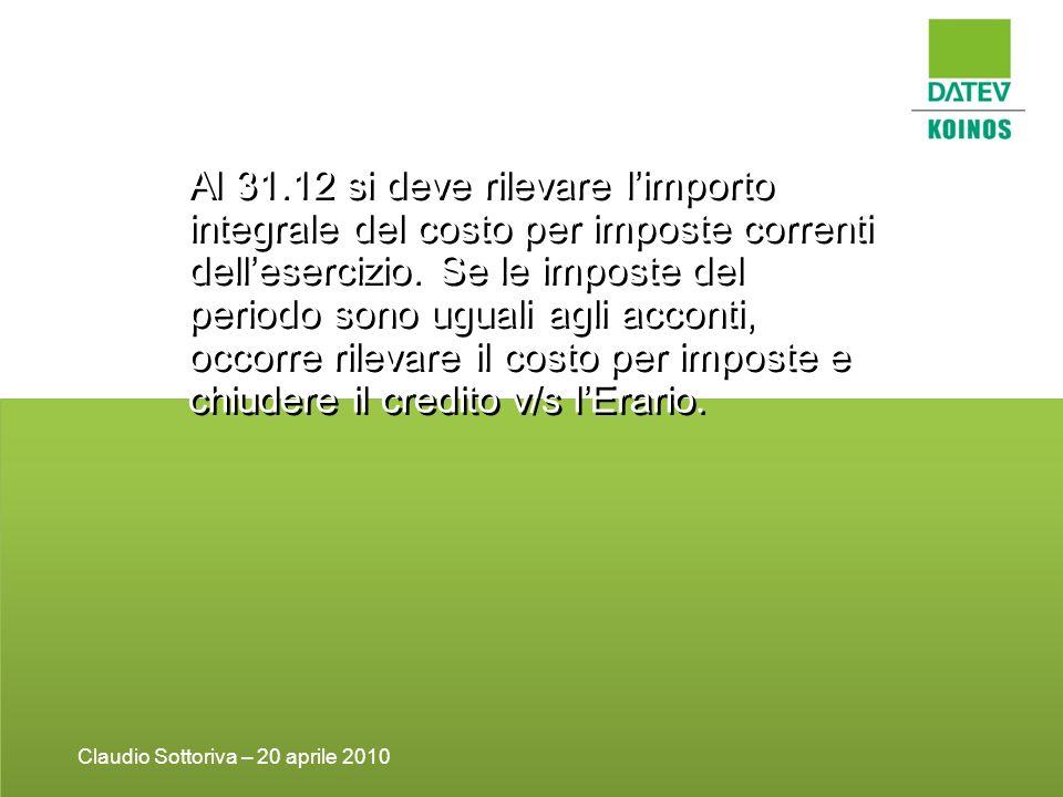 Al 31.12 si deve rilevare limporto integrale del costo per imposte correnti dellesercizio.