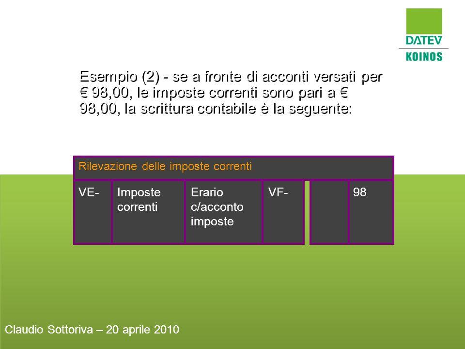 Esempio (2) - se a fronte di acconti versati per 98,00, le imposte correnti sono pari a 98,00, la scrittura contabile è la seguente: Rilevazione delle
