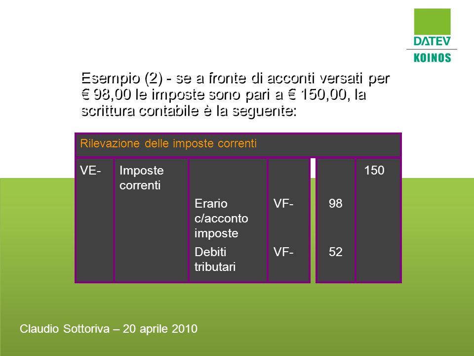 Esempio (2) - se a fronte di acconti versati per 98,00 le imposte sono pari a 150,00, la scrittura contabile è la seguente: Rilevazione delle imposte