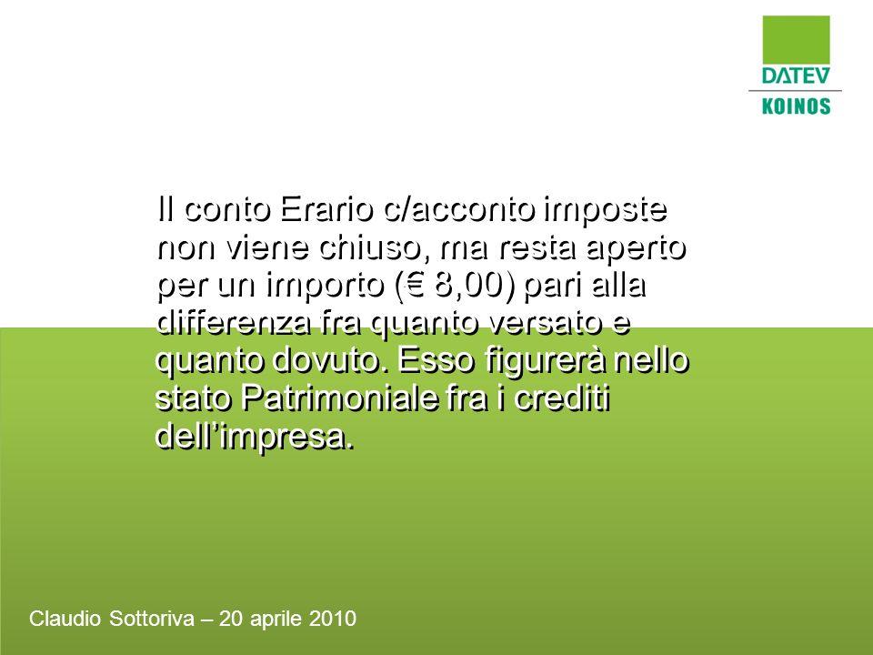 Il conto Erario c/acconto imposte non viene chiuso, ma resta aperto per un importo ( 8,00) pari alla differenza fra quanto versato e quanto dovuto. Es