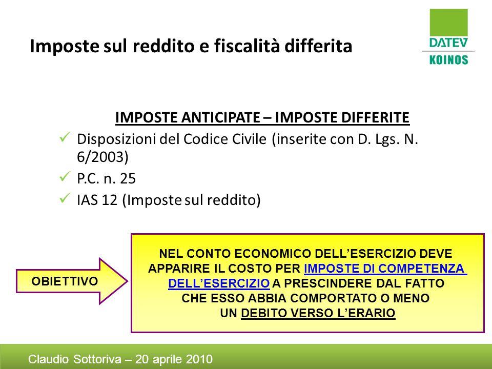 Imposte sul reddito e fiscalità differita IMPOSTE ANTICIPATE – IMPOSTE DIFFERITE Disposizioni del Codice Civile (inserite con D. Lgs. N. 6/2003) P.C.