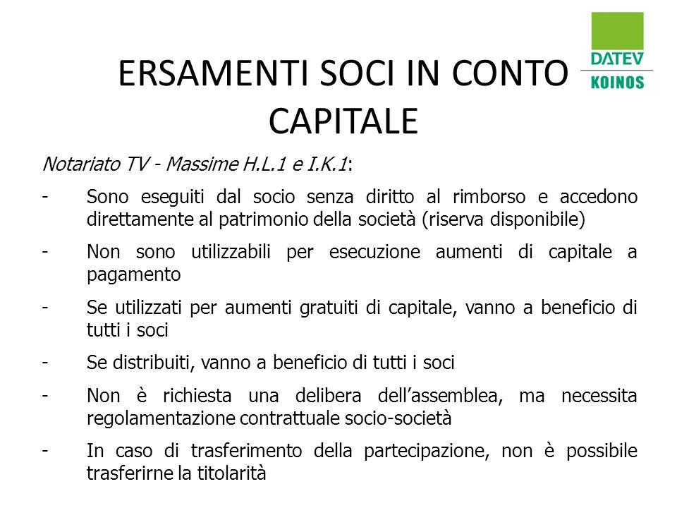 ERSAMENTI SOCI IN CONTO CAPITALE Notariato TV - Massime H.L.1 e I.K.1: -Sono eseguiti dal socio senza diritto al rimborso e accedono direttamente al p