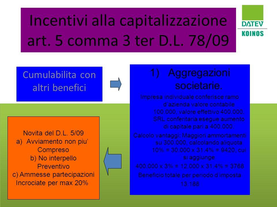 Incentivi alla capitalizzazione art. 5 comma 3 ter D.L. 78/09 Cumulabilita con altri benefici 1)Aggregazioni societarie. Impresa individuale conferisc