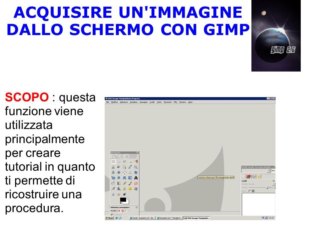 ACQUISIRE UN'IMMAGINE DALLO SCHERMO CON GIMP SCOPO : questa funzione viene utilizzata principalmente per creare tutorial in quanto ti permette di rico