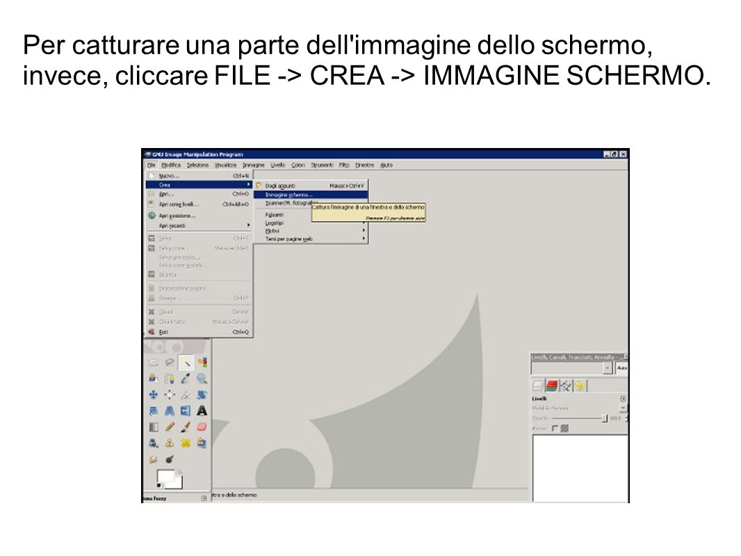 Per catturare una parte dell'immagine dello schermo, invece, cliccare FILE -> CREA -> IMMAGINE SCHERMO.