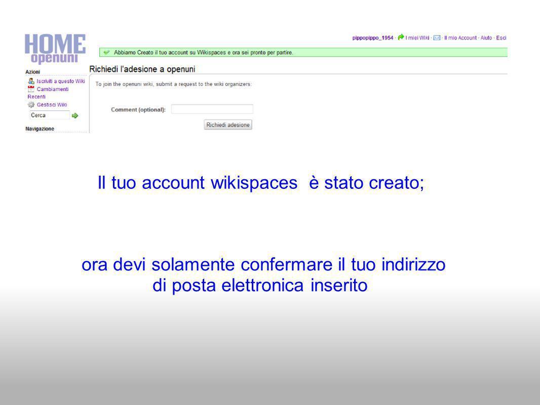 Il tuo account wikispaces è stato creato; ora devi solamente confermare il tuo indirizzo di posta elettronica inserito