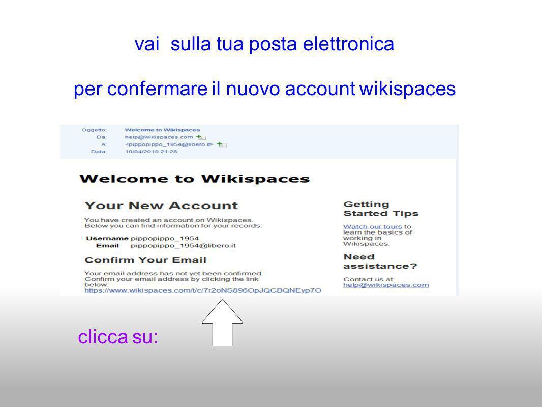 clicca su: vai sulla tua posta elettronica per confermare il nuovo account wikispaces