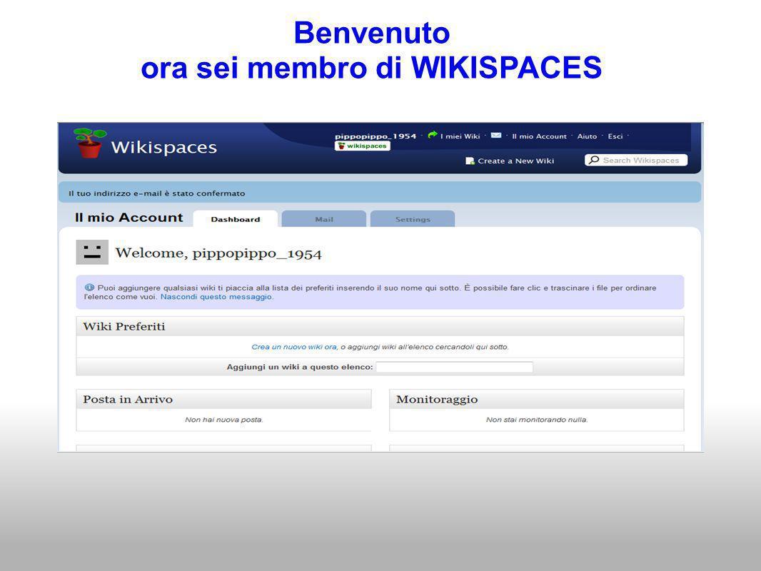 Benvenuto ora sei membro di WIKISPACES