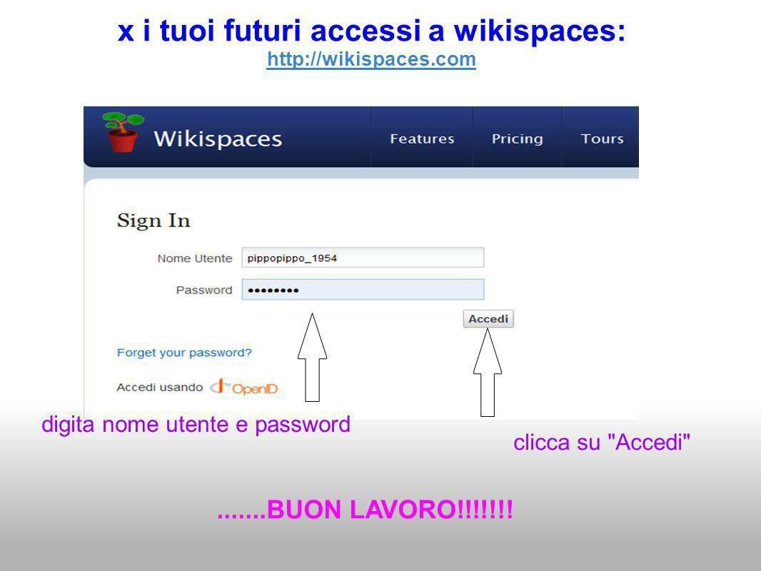 x i tuoi futuri accessi a wikispaces: http://wikispaces.com digita nome utente e password clicca su Accedi .......BUON LAVORO!!!!!!!