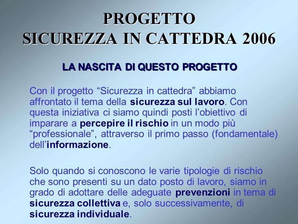 PROGETTO SICUREZZA IN CATTEDRA 2006 LA NASCITA DI QUESTO PROGETTO Con il progetto Sicurezza in cattedra abbiamo affrontato il tema della sicurezza sul