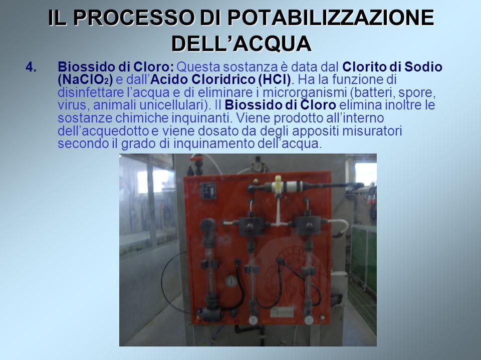 IL PROCESSO DI POTABILIZZAZIONE DELLACQUA 4.Biossido di Cloro: Questa sostanza è data dal Clorito di Sodio (NaClO 2 ) e dallAcido Cloridrico (HCl). Ha