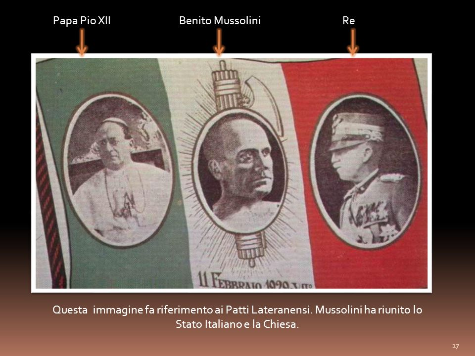 Papa Pio XIIReBenito Mussolini Questa immagine fa riferimento ai Patti Lateranensi.