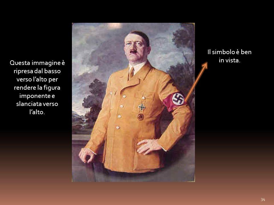 Hitler e Mussolini raffigurati insieme in postura eretta che osservano il popolo.