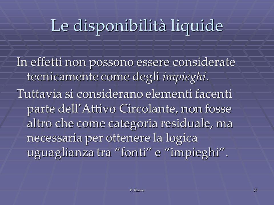 P. Russo25 Le disponibilità liquide In effetti non possono essere considerate tecnicamente come degli impieghi. Tuttavia si considerano elementi facen