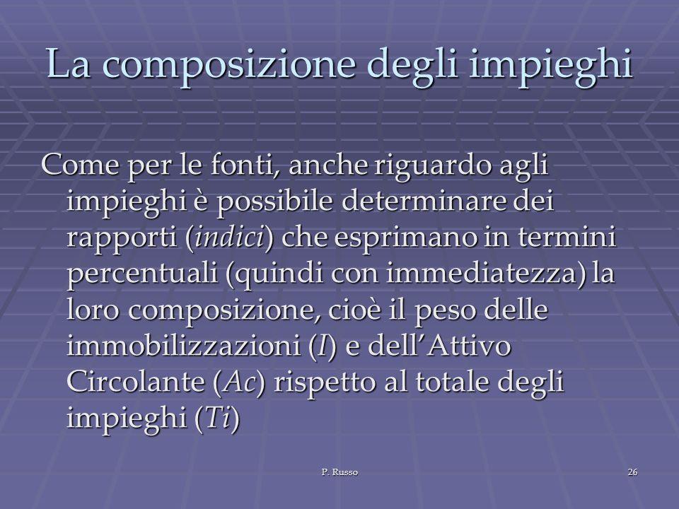 P. Russo26 La composizione degli impieghi Come per le fonti, anche riguardo agli impieghi è possibile determinare dei rapporti (indici) che esprimano