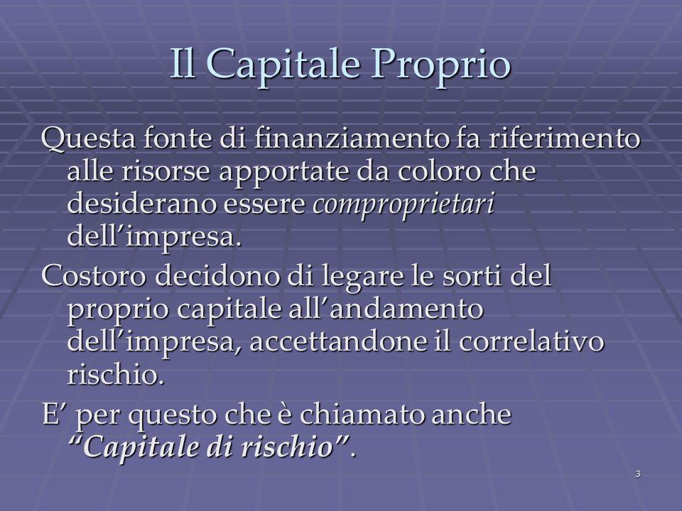 3 Il Capitale Proprio Questa fonte di finanziamento fa riferimento alle risorse apportate da coloro che desiderano essere comproprietari dellimpresa.