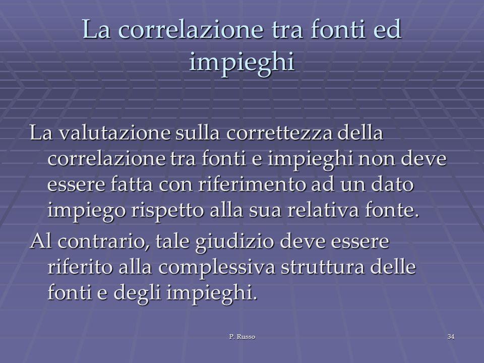P. Russo34 La correlazione tra fonti ed impieghi La valutazione sulla correttezza della correlazione tra fonti e impieghi non deve essere fatta con ri