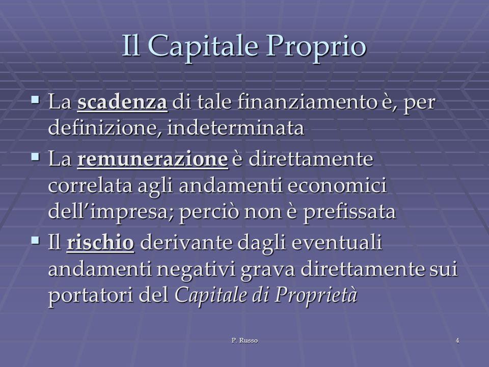 P. Russo4 Il Capitale Proprio La scadenza di tale finanziamento è, per definizione, indeterminata La scadenza di tale finanziamento è, per definizione
