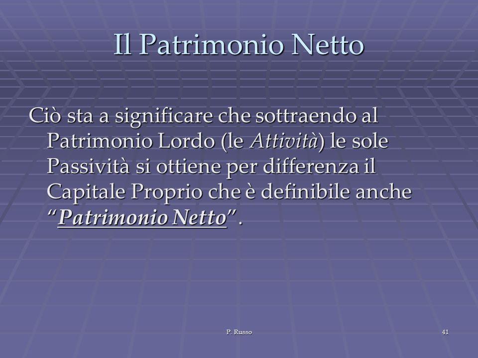 P. Russo41 Il Patrimonio Netto Ciò sta a significare che sottraendo al Patrimonio Lordo (le Attività) le sole Passività si ottiene per differenza il C