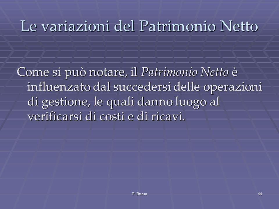 P. Russo44 Le variazioni del Patrimonio Netto Come si può notare, il Patrimonio Netto è influenzato dal succedersi delle operazioni di gestione, le qu