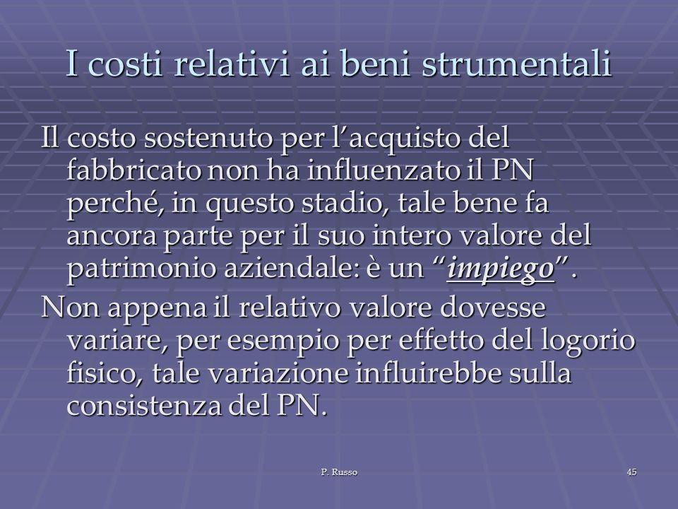 P. Russo45 I costi relativi ai beni strumentali Il costo sostenuto per lacquisto del fabbricato non ha influenzato il PN perché, in questo stadio, tal