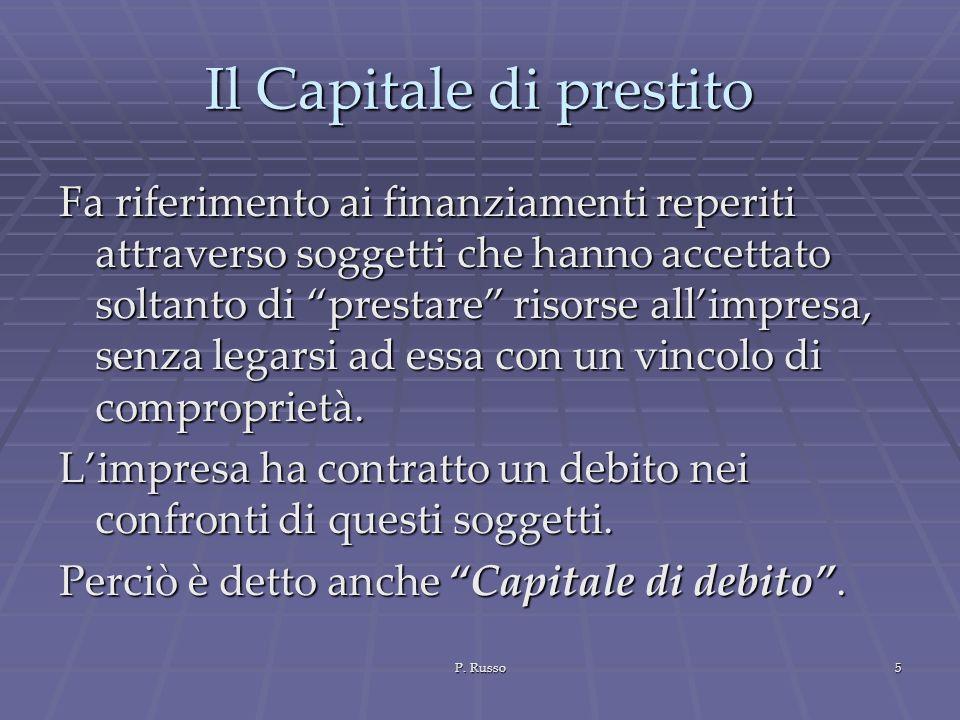 P. Russo5 Il Capitale di prestito Fa riferimento ai finanziamenti reperiti attraverso soggetti che hanno accettato soltanto di prestare risorse allimp