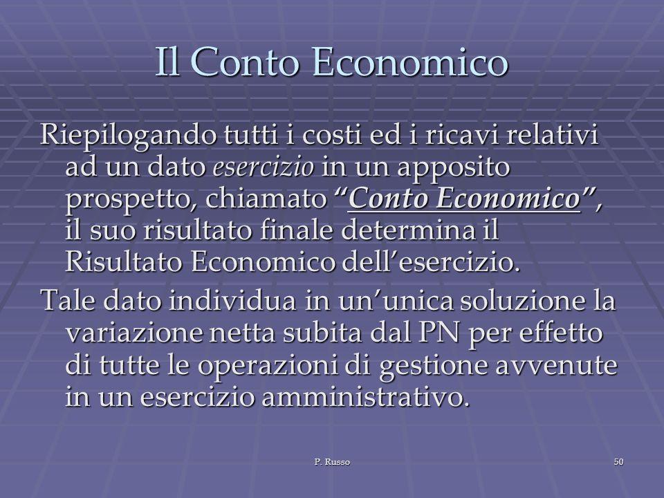 P. Russo50 Il Conto Economico Riepilogando tutti i costi ed i ricavi relativi ad un dato esercizio in un apposito prospetto, chiamato Conto Economico,