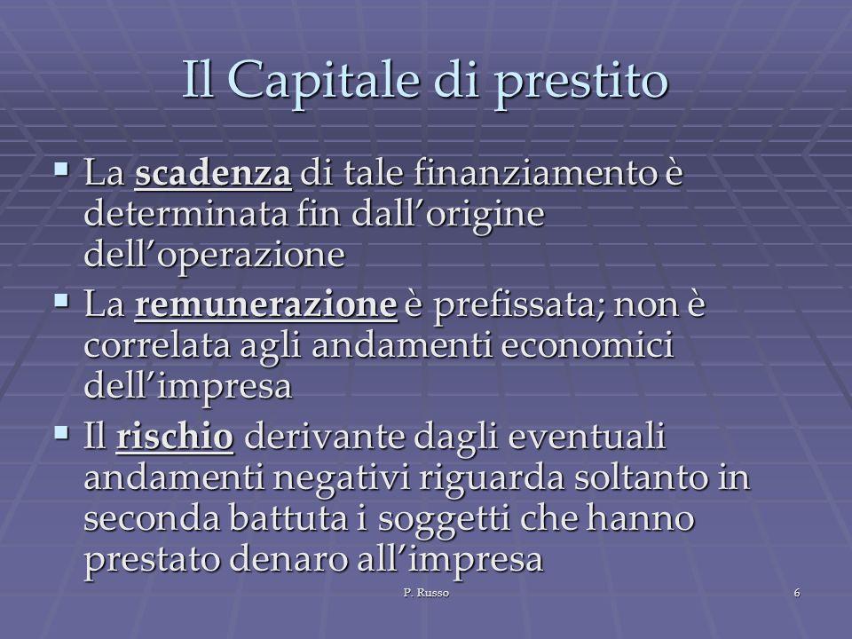 P. Russo6 Il Capitale di prestito La scadenza di tale finanziamento è determinata fin dallorigine delloperazione La scadenza di tale finanziamento è d