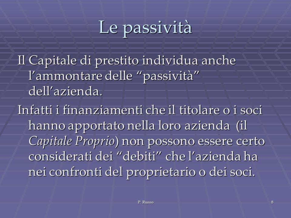 P. Russo8 Le passività Il Capitale di prestito individua anche lammontare delle passività dellazienda. Infatti i finanziamenti che il titolare o i soc
