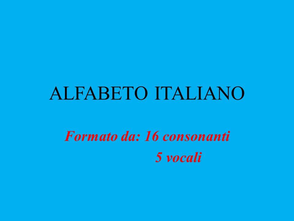 ALFABETO ITALIANO Formato da: 16 consonanti 5 vocali