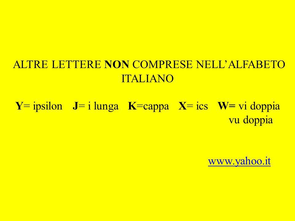 ALTRE LETTERE NON COMPRESE NELLALFABETO ITALIANO Y= ipsilon J= i lunga K=cappa X= ics W= vi doppia vu doppia www.yahoo.itwww.yahoo.it